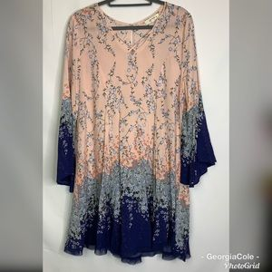 Umgee Pink & Blue Floral Bell Sleeve Tunic Dress